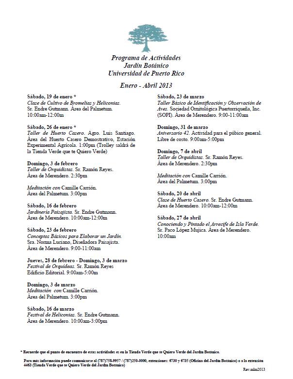 calendario de actividades del jard n bot nico enero abril