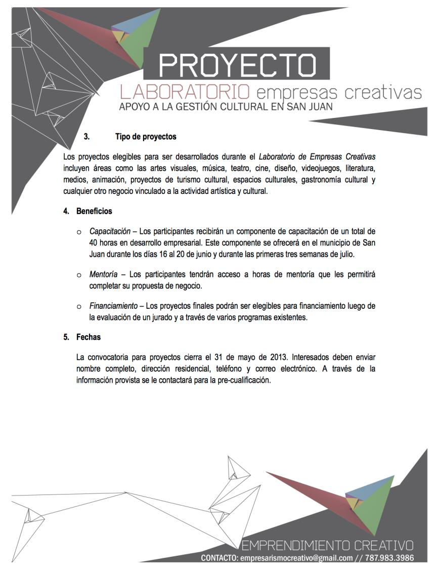 Convocatoria Laboratorio de Empresas Creativas 2