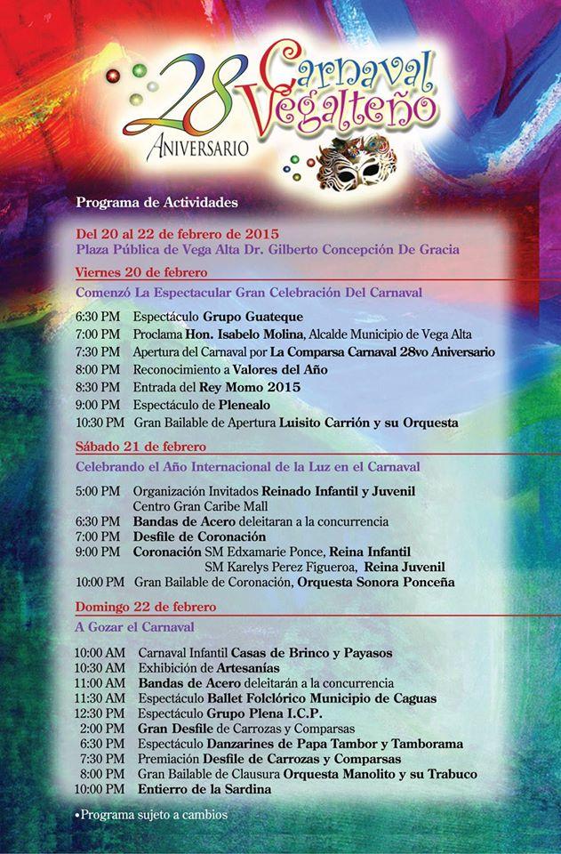 Carnaval Vegalteño 2015 calendario