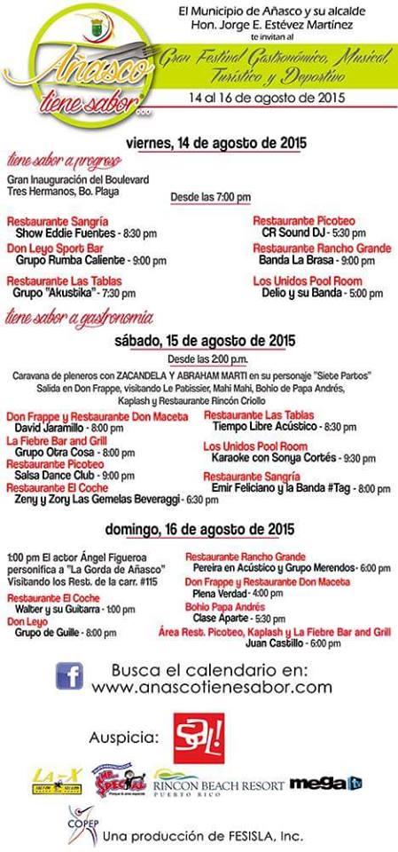 Añasco Tiene Sabor- Gran Festival Gastronómico, Musical, Turístico y Deportivo 2015