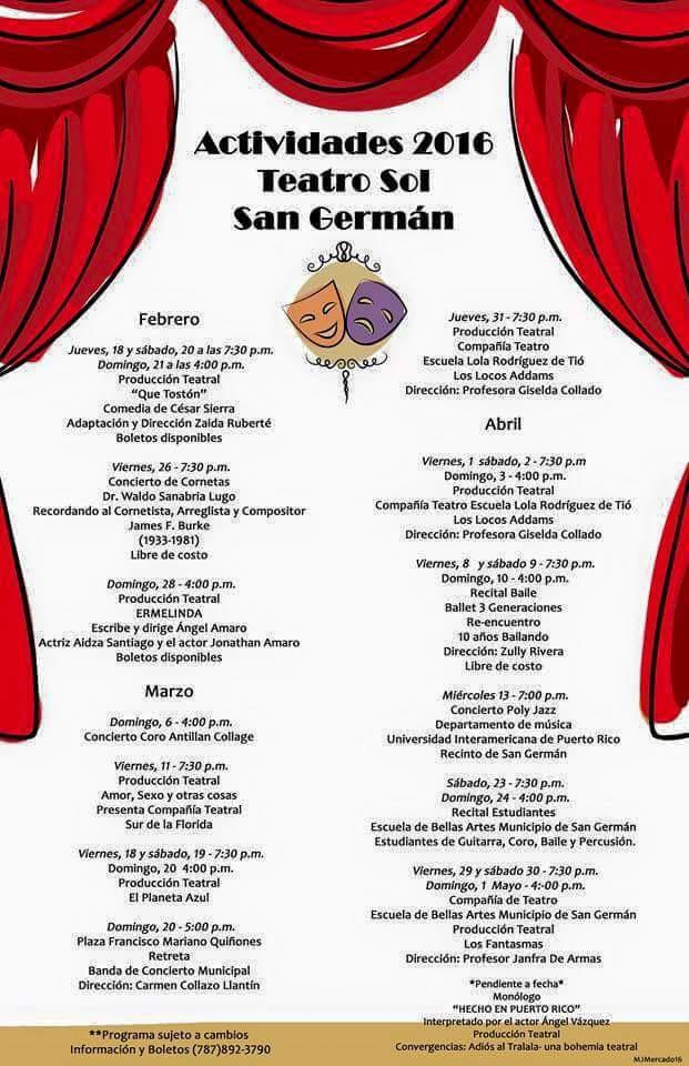 Actividades Teatro Sol San Germán