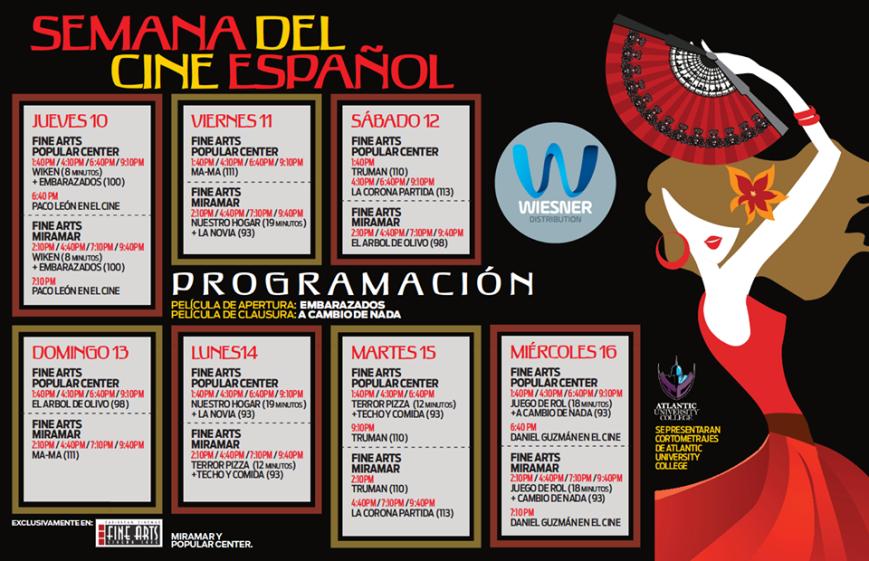Semana del Cine Español en Puerto Rico 2016 Itinerario