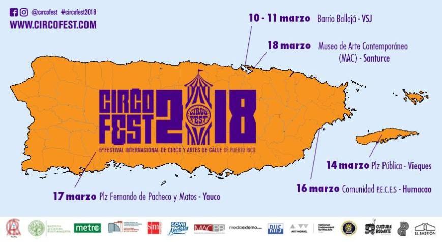 Circo Fest 2018 Mapa Puerto Rico